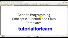 Generic programming  concepts function  and  class  templates using C++ ... Object Oriented Programming, Concept, Templates, Education, Fle, Stencils, Vorlage, Onderwijs