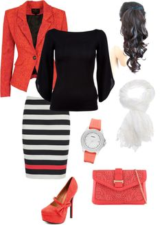 Black and white striped skirt, coral heels, but with a coral cardi :)