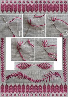 fly stitch with suggestions of how to use as a decorative border - Lovely!