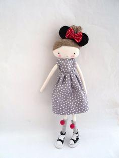 Minnie rag doll cloth art rag doll polka by lassandaliasdeana