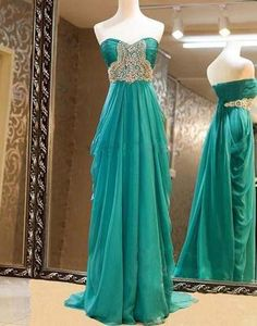 Gorgeous Sweetheart Sweep Train Beaded Prom Dresses, Evening Dresses, Formal Dresses,HS063