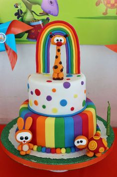 Rainbow cake at a Baby TV Birthday Party! See more party planning ideas at… Rainbow Birthday, Baby Birthday, 1st Birthday Parties, Torta Candy, Baby Tv Cake, Jungle Cake, Rainbow Parties, Unique Cakes, Sweet Cakes