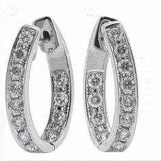 These diamond hoop earrings have diamonds on the inside and outside so she will always be sparkling!