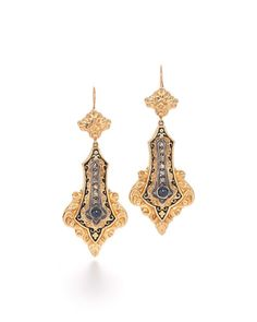 19th Century Sapphire & Diamond Earrings