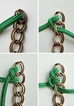 Cómo hacer una pulsera de cadena y cuerdas (o trapillo)   El blog ...