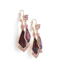 Purple diamond earrings.