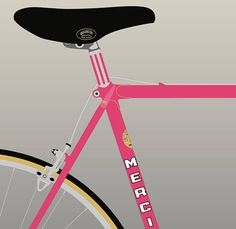 Original artwork by Michael Gamstetter celebrating one of professional road racings most iconic bicycles. Signed and numbered by the artist. Giclee print on ultra-high-quality, acid-free-, archival paper. Image size 8x10 inches. Paper size 10x12 inches. Also available in 5x7, 11x14