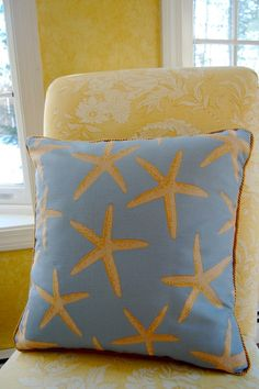 Starfish Motif Nautical Pillow Cover