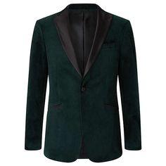 Buy Kin Emerald Peak Lapel Velvet Jacket, Emerald Green from our Men's Coats & Jackets range at John Lewis & Partners. Green Wedding Suit, Wedding Suits, Velvet Jacket, Tailored Trousers, Green Velvet, Emerald Green, John Lewis, Suit Jacket, Turtle Neck