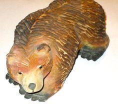 Vintage Black Forest carved wood bear glass by sweetalicelovesyou, $48.00