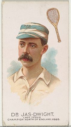 Dr James Dwight, Lawn Tennis Champion, North of England 1885, from World's Champions, Series 2 (N28) for Allen & Ginter Cigarettes, c1888 set of 50 cards.