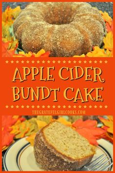 You ll love Apple Cider Bundt Cake! It s an easy, delicious Fall dessert or coffeecake with cider, grated apples, cinnamon, nutmeg amp; a cinnamon sugar topping. via gratefuljb Dessert Party, Fall Cakes, Girl Cooking, Salty Cake, Apple Recipes, Fall Dessert Recipes, Savoury Cake, Clean Eating Snacks, Cupcake Cakes