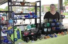 Diane Sheffrey, of Baubles, creates in blown glass, feltwork, quilting and beadwork.  Some of her items include vases, bowls, cups, paperweights and ornaments. Fiber items include: quilted and felted pins, bookmarks, cat toys and coasters. Simple bead bookmarks and bracelets.