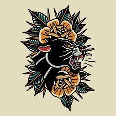 Neo Traditional Tattoo Black And Grey, Traditional Tattoo Filler, Traditional Panther Tattoo, Traditional Tattoo Old School, Traditional Tattoo Design, Traditional Sleeve, Black And Grey Tattoos, Traditional Tattoo Leg Sleeve, Traditional Tattoo Painting