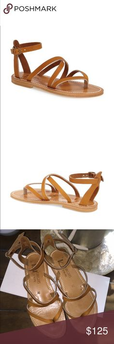 K. Jacques St. Tropez ankle strap 'epicure' sandal Size 38, Italian size. This runs 1/2 size smaller. I would say a 7.5 would work. Natural leather color. Leather upper, lining and insole. K. Jacques Shoes Sandals