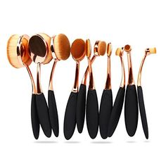 Rose Gold 10pcs Professional Oval Makeup Brush Set Toothbrush Face Foundation Powder Brush Kits Cosmetic Brushes >>> Details can be found by clicking on the image.