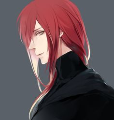 Has red long hair reaches his shoulders just like his eyes color. Has a fire power and wolf. Manga Boy, Manga Anime, Anime Art, Cute Anime Boy, Hot Anime Guys, Wolf Boy Anime, Red Hair Anime Guy, Character Inspiration, Character Art