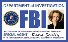 FBI Agent Scully Badge by lexistripes on deviantART