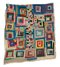 """Irene Williams - """"Housetop"""" variation with """"Postage Stamp"""" center row - c. 1965 Cotton, cotton/polyester blend, polyester double knit, wool, corduroy 79 x 71 inches"""