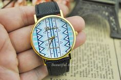 Black leather strap watches Corrugated watches  by BeautifulShow, $6.50 Fashion charm handmade personalized watches, best gift.