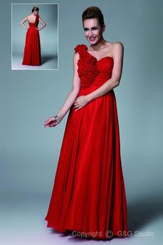 507dd89cfa1f Glamorous A-line One-Shoulder Floor-length Chiffon Ruffles Handmade Flowers  Evening Dress