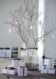 Bringing nature indoors is one of my favorite ways to decorate all year long. This simple DIY involving a branch, white sand and a vase can be done in minutes. Add some festive balls or ornaments and voila, instant tree. Keep it monochromatic for a more wintery look or add reds and greens if you want a Classic Christmas look.