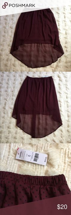 Garage high low star skirt Garage high low flow skirt. Maroon with black stars. In perfect condition never been worn with the tags. Garage Skirts High Low