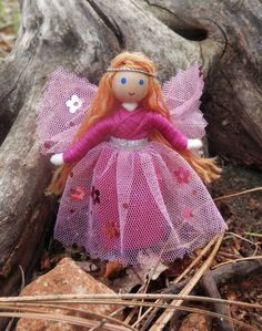 Pink Flower Fairy Doll  Waldorf fairy Fairy by WildflowerInnocence