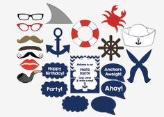 Nautical Photo Booth Props sailor birthday party photobooth