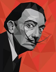 Items similar to Salvador Dali Low-Poly Geometric Portrait on Etsy - Gouache Painting Salvador Dali, Low Poly, Portrait Art, Portraits, Dali Paintings, Unique Paintings, Art Et Illustration, Illustration Simple, Art Illustrations