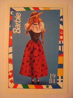 """Barbie Trading Card 1984 DOTW """"Swiss Barbie"""" Switzerland   eBay"""