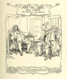Act 5 Title. —  Hugh Thomson Illustrations: She Stoops to Conquer by Oliver Goldsmith