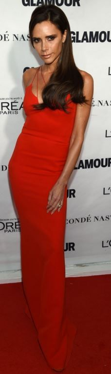 Who made  Victoria Beckham's red gown?