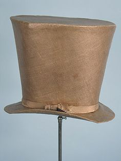 Men's top hat 1840s. A top hat is a tall, flat-crowned, broad-brimmed hat, predominantly worn from the latter part of the 18th to the middle of the 20th century