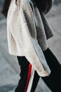 TRACK PANTS & CHUNKY KNIT SWEATER  
