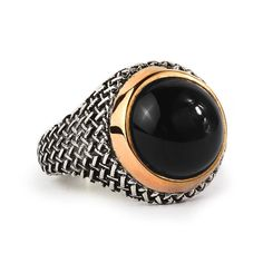 Men Ring 925 Silver,Natural Black Onyx Size 9-10-11-12 US Men's Gemstone Jewelry #IstanbulJewellery #Statement