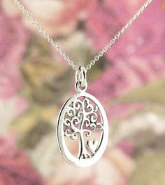 Oval Tree of Life Necklace with Tiny Heart in Sterling Silver