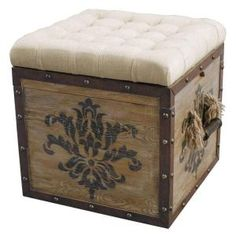 The Pulaski Accentrics Natural Distressed Tufted Ottoman - offers a wide range of uniquely thought-out and designed accent furniture pieces. The Pulaski Accentrics Natural Distressed Tufted Ottoman - can become that special touch Crate Ottoman, Upholstered Ottoman, Ottoman In Living Room, Living Room Seating, Living Rooms, Table Flip, A Table, Pulaski Furniture, Stencil