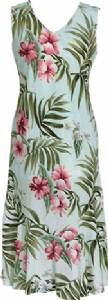 Pink Hibiscus Ladies Rayon Bias Cut VNeck Sleeveless Dress Aqua