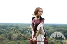Womens Archery Bracer Arm Guard etched brass armor by armstreet