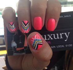 Uñas decoradas Love Nails, Fun Nails, Indian Nails, Broken Nails, Tribal Nails, Fingernail Designs, Short Nails Art, Colorful Nail Designs, Acrylic Nails
