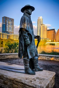 An iconic sculpture of the legendary guitarist Stevie Ray Vaughan - along the lake in Austin, TX