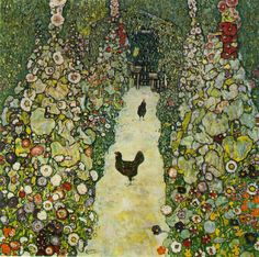 Garden Path with Chickens by Gustav Klimt, 1916 I have always loved this painting of the chickens and hollyhocks.
