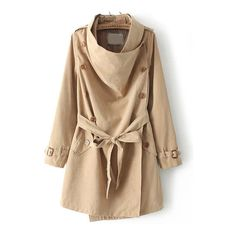 SheIn(sheinside) Khaki Long Sleeve Buttons Tie-Waist Coat (200 VEF) ❤ liked on Polyvore featuring outerwear, coats, khaki, khaki coat, brown coat, long sleeve coat and button coat