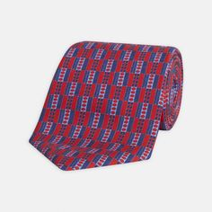 Ancient Shapes Red and Navy Printed Silk Tie