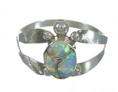 Zuni Indian Opal And Silver Turtle Ring Size 6-1/4 YX72914