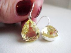 Jonquil Yellow Vintage  Earrings  Estate by JulieEllynDesigns