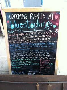 My Bluestocking Bookstore event in NYC! So fun! Brooklyn Food, Upcoming Events, Worms, Feminism, Workshop, Nyc, Ideas, Atelier, Work Shop Garage