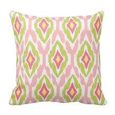 Shop Modern lime green teal Ikat Tribal Pattern Throw Pillow created by ArtStudioPillows. Custom Pillows, Decorative Throw Pillows, Modern Hipster, Pillow Texture, Designer Throw Pillows, Accent Colors, Ikat, Lime, Fabric