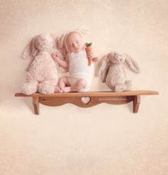 newborn photography, newborn photographer, baby bunny, newborn bunny, baby on shelf with animals, Tina Krafts Photography